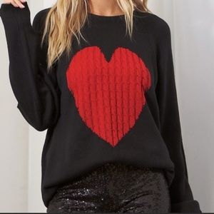 New CrewNeck Black Knit Sweater with Red Heart ❤️